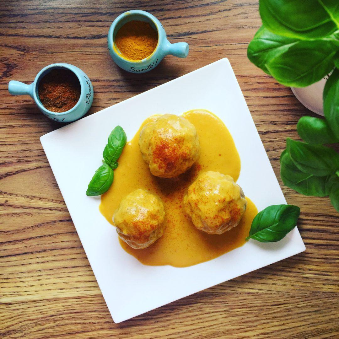 thermomix przepisy - pulpety w sosie curry z batatami