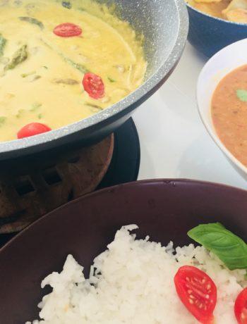 SZPARAM - szparagi i pieczarki w mleczku kokosowym z kurkumą i curry